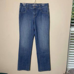 Chico's Platinum Light Wash Straight, Embroidered Pocket Jeans, 0.5/6